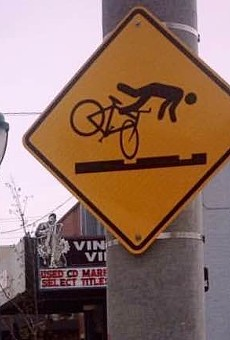 Watch for falling cyclists.