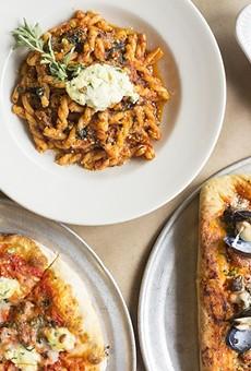 """Peno's gemelli ragu, eggplant involtini, """"Giuseppe"""" pizza and seafood pizza."""