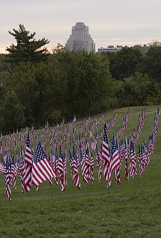 Flags on Art Hill honoring the 10th anniversary of the September 11 attacks, in 2011.
