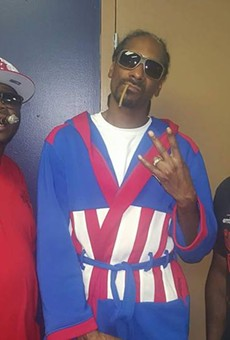 BJ's owner Bernie Lee Gray Jr. (left) and chef Kenneth Gregory II (right) with Snoop Dizzle himself.