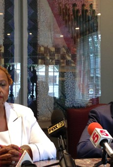 St. Louis police Major Rochelle Jones (with attorney J.C. Pleban) is suing the police chief for discrimination.