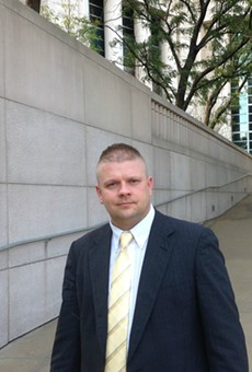 Ex-Pine Lawn police lieutenant Steven Blakeney leaves federal court on October 5, 2016.