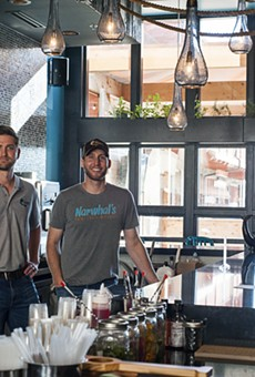 Brandon Holzhueter (left) and Brad Merten at Narwhal's Crafted Urban Ice.