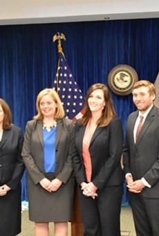 Attorney General Eric Schmitt (far left) with five assistant attorneys general deputized as federal prosecutors. From L: Natalie Warner, Jennifer Szczucinski, Katherine Dolin, Greg Goodwin and Jordan Williams.