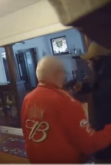 A 79-year-old was pistol whipped by a burglar, a brutal attack captures on surveillance video.