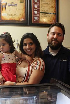 Owners Esraa and George Simon with their daughter Maya.