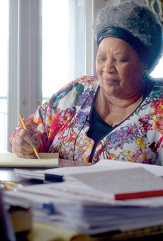 Toni Morrison doing what she does best: writing and thinking.