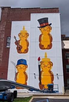 fnnch's included a nod to the St. Louis Blues in his honey bears mural on the Centene Center for the Arts in Grand Center.