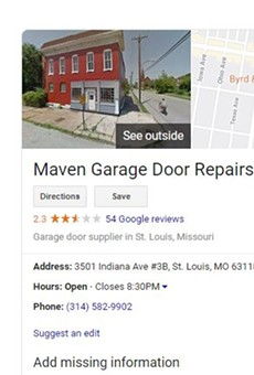 A now-deleted listing showed a fake address for Maven Garage Door Repairs.