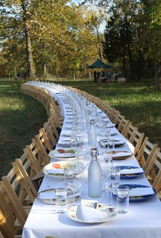 The spread at the 2015 Outstanding in the Field dinner at Such and Such Farm.