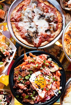 A selection of menu items from Party Bear Pizza and Tiny Chef (pictured from left to right, top to bottom): kimchi, The Hoosier party pizza, char siu pork belly nachos, bulgogi steak bibimbap bowl, char siu tofu taco and cheese sticks.