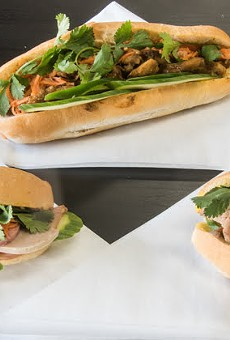 Sandwiches pictured from left to right: the Saigon Classic, grilled pork and lemongrass chicken.
