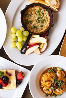 A selection of items from Destination Cafe, pictured from left to right, top to bottom: chicken and dumplings, four-cheese fondue, steak sandwich, cheesecake and Bangkok Shrimp.