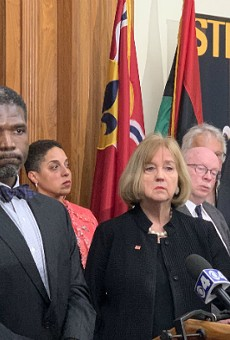 Dr. Fredrick Echols and Mayor Lyda Krewson, photographed on March 12, say the death shows the gravity of the coronavirus.