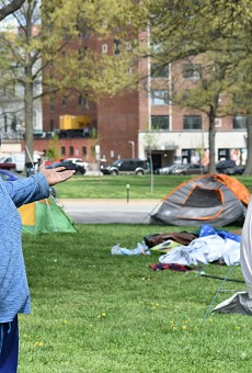 Tamadj Shakespeare, left, and Marcus Hunt say police invaded a homeless camp at 4 a.m. on Thursday.
