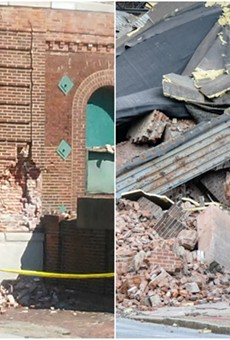 Before-and-after photos of the corner of a Lemp Brewery building that collapsed.