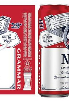 "Nelly Budweiser cans feature the Derrty Record label, a Cardinals logo and lyrics from Nelly's debut album, ""Country Grammar""."