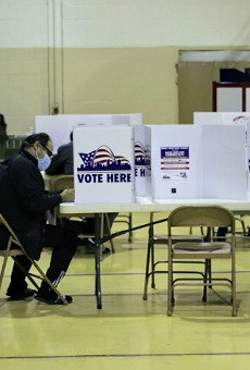 Voters casting their ballots before polls closed on Election Day.