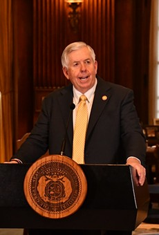 Missouri Gov. Mike Parson discusses the state's unemployment system during a press conference on Feb. 5.