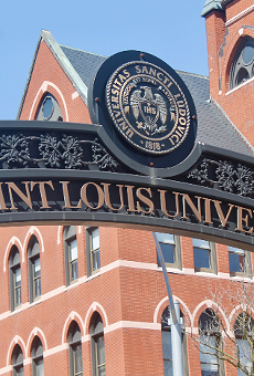 The iron arch donning Saint Louis University's name on West Pine and Grand Avenue.