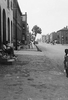 A 1932 photo of a St. Louis street, one of hundreds of unidentified images in a photo collection.