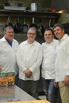 Denis Krdzalic (center) with Tom Baldetti, Chef Paolo Pittia and Pete Baldetti.