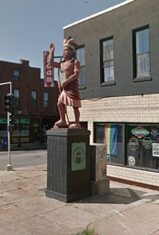A statue of a Cherokee man has been removed from the intersection near the Cherokee Street district.