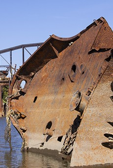 Nearly 30 years after its sinking, the U.S.S. Inaugural remains just off shore in St. Louis.