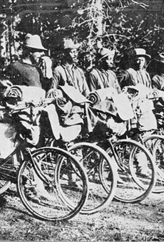 Members of the 25th Regiment pose with their 'state-of-the-art' test bicycles in 1897.