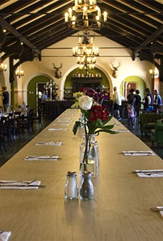 Das Bevo's communal table has room for you and all your stein-clanking friends.