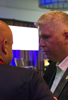 Jeff Roorda, spokesman for the St. Louis police union, attending the watch party for the campaign to bring a soccer stadium to St. Louis. Roorda and the union endorsed the tax earmark for the stadium.