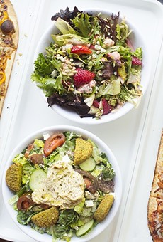 """Pies at 'Zza include the """"Thai Dye"""" (left) and """"Postrio"""" (right), as well salads and even a poke bowl."""