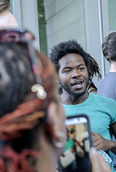 Rodney Brown leaves the Buzz Westfall Justice Center after more than 24 hours in jail.