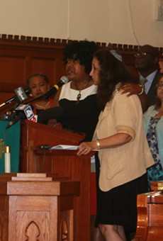 Reverend Cassandra Gould spoke alongside Rabbi Susan Talve at today's press conference at St. Peters AME Church.