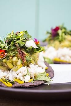 Crab tostadas at Nixta, one of the restaurants praised by Food & Wine.