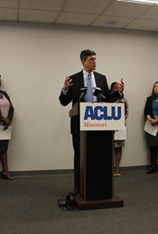 """Jeffrey Mittman, executive director for ACLU of Missouri delivers closing remarks at a press conference regarding the ACLU's new report, """"From School to Prison: Missouri's Pipeline of Injustice."""""""
