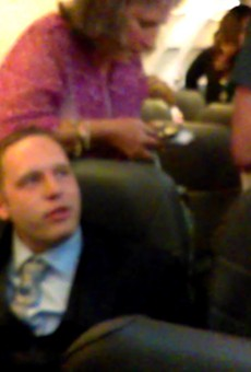 """A drunk passenger who tried to play his """"white card."""""""