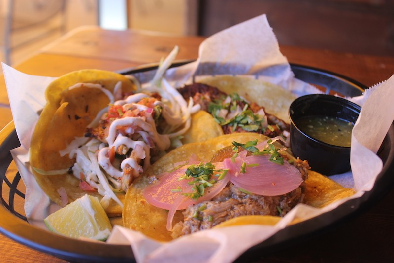 A trio of tacos from One Way Cafe. - PHOTO BY SARAH FENSKE
