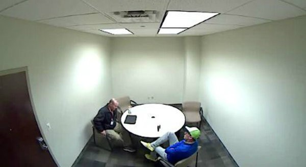 Todd Beckman, right, talks to a Maplewood detective during an interrogation in December 2016. - IMAGE VIA DEA VIDEO SCREENSHOT