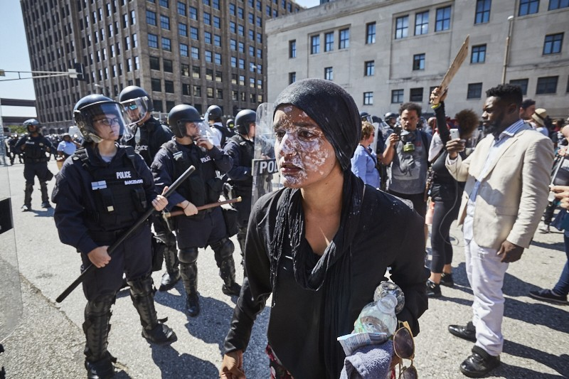 Maleeha Ahmad reacts after being pepper-sprayed by St. Louis officers. - PHOTO BY THEO WELLING