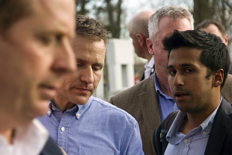 Still a top communications adviser at the time, Jimmy Soni, right, accompanied Missouri Governor Eric Greitens to a vandalized Jewish cemetery in February. - PHOTO BY DANNY WICENTOWSKI
