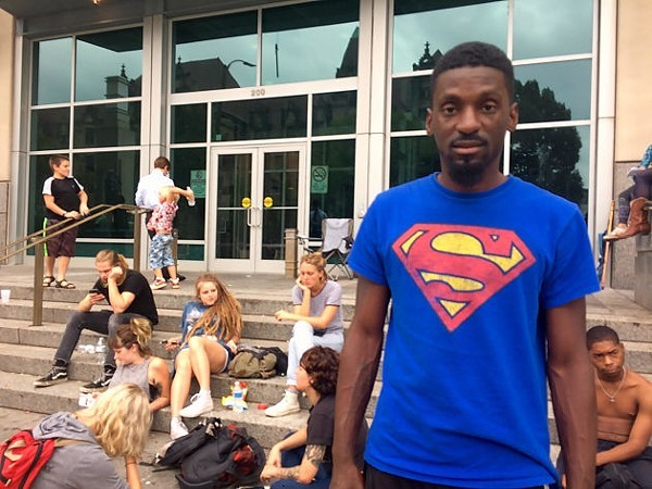 State Representative Bruce Franks (D-St. Louis) outside the downtown Justice Center just after his release on charges of blocking the highway. - DANIEL HILL