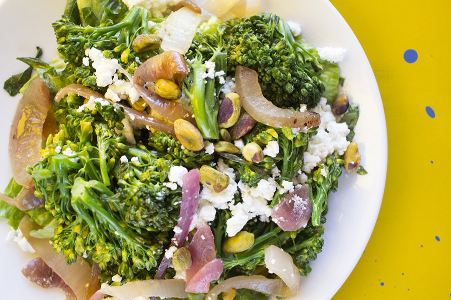 The broccolini salad includes romaine, grilled red onion, feta, pistachios and jalapeño vinaigrette. - MABEL SUEN