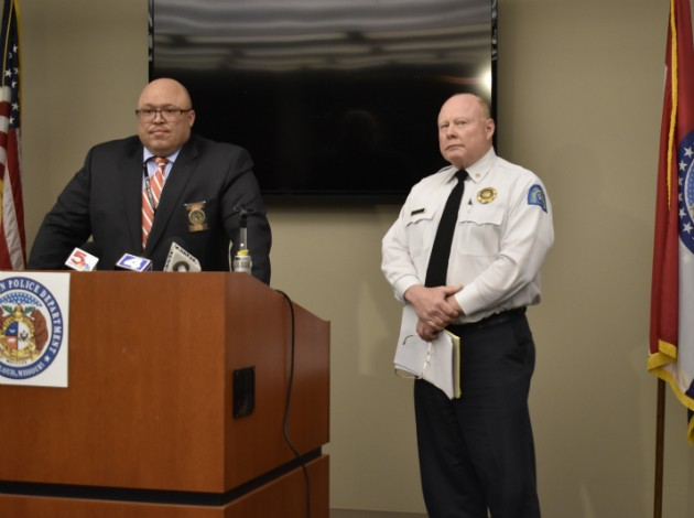 Lt. John Green and interim Chief Lawrence O'Toole brief the media on four recent homicides. - PHOTO BY DOYLE MURPHY