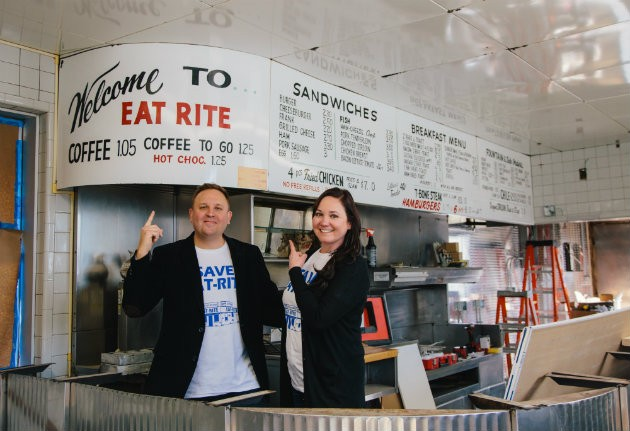 Joel and Shawna Holtman inside Eat-Rite Diner. - KORIN FISHER