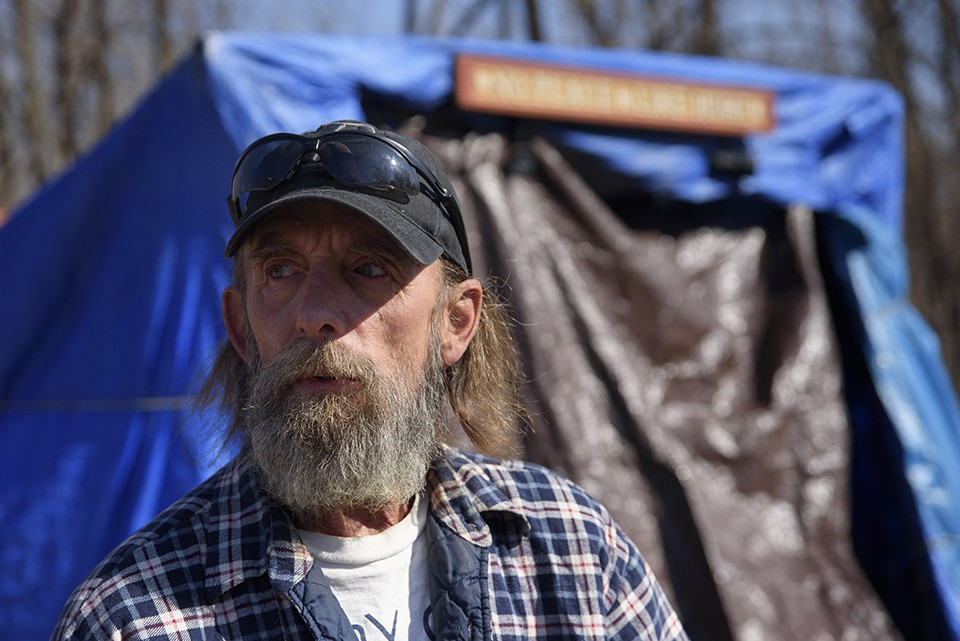 Robert Gibson started building a homeless camp two years ago on the east side of the Mississippi after he got fed up with St. Louis. - NICK SCHNELLE