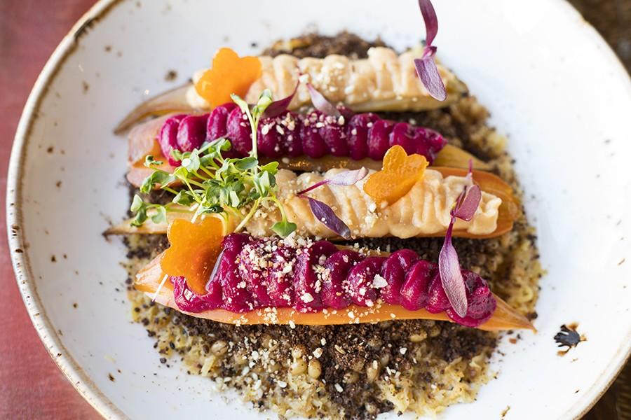 Vegetable marrow with roasted carrots in sesame seasoning, carrot hummus and beet hummus. - MABEL SUEN