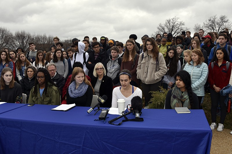 Last month, Clayton High School students rallied to draw attention to the need for new gun control laws. Students in Belleville aren't being given the same chance. - DOYLE MURPHY