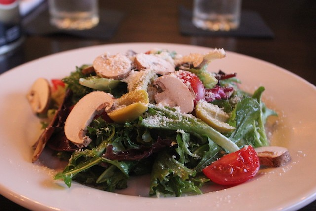 At 6.99, the house salad is big enough for two. (This photo shows one that's been split for easier sharing.) - SARAH FENSKE