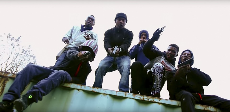 """LA4SS, center, appeared in 3 Problems' """"For a FCKNIGGA"""" in 2014. Today one member of the group is dead; another is doing time for second-degree murder. - YOUTUBE"""